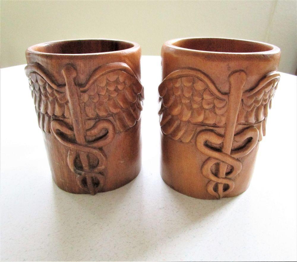 Set Of 2 Vintage Wooden Tiki Mugs Caduceus Medical Symbol Snakes