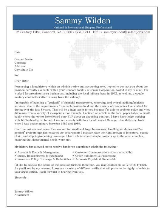 Administrative Cover Letter Example Cover letter example, Letter - sample resume cover letter for accounting job