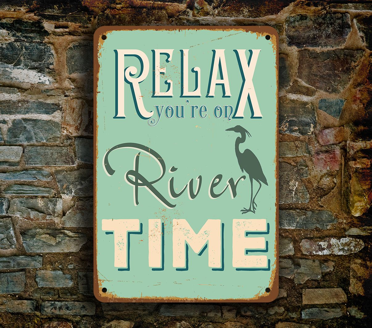 River Signs - RELAX River Time Sign http://www.classicmetalsigns.com/product/river-signs-relax-river-time-sign/