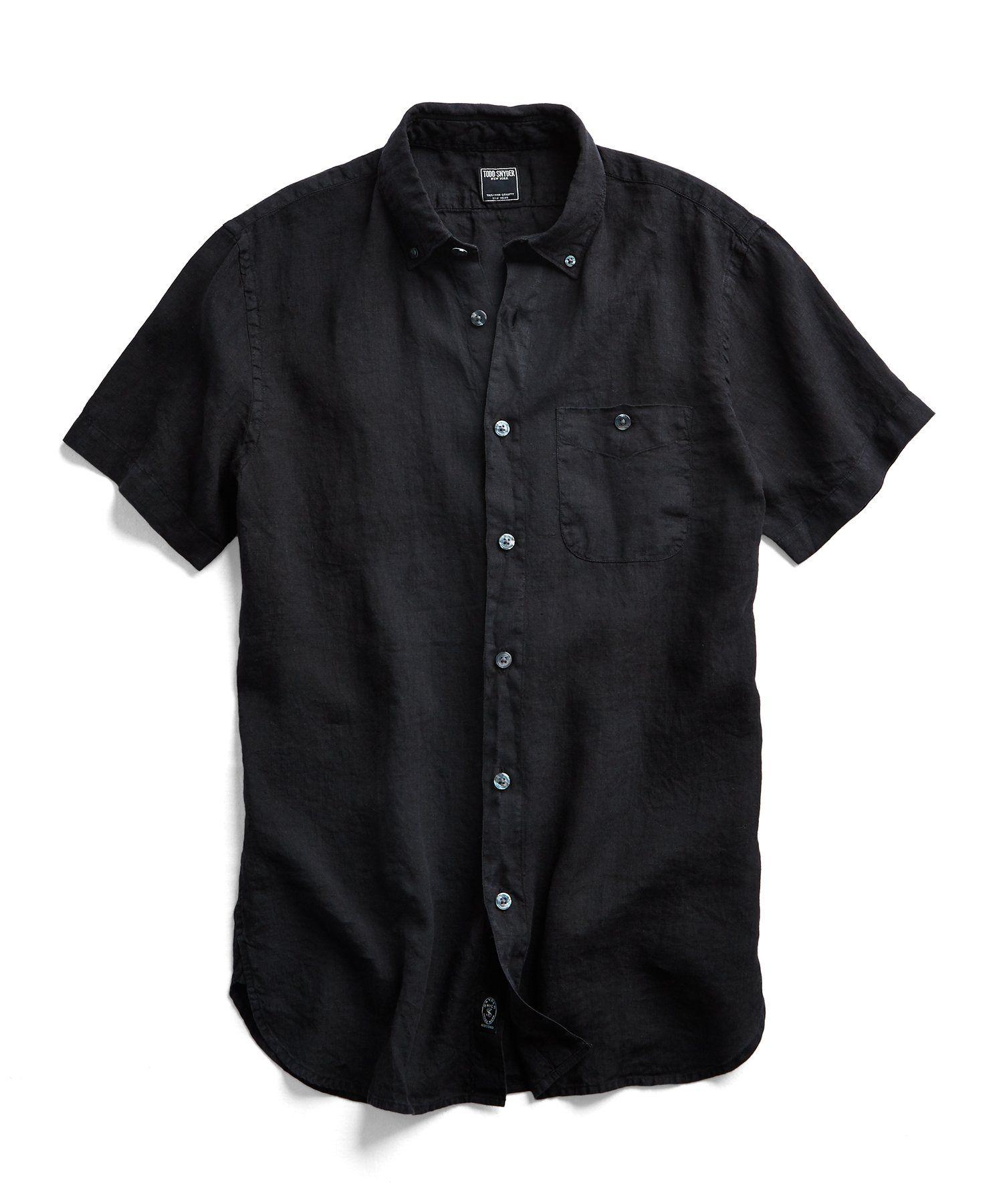 Short Sleeve Linen Button Down Shirt In Black Black Shirt Outfits Shirts Short Sleeve Linen Shirt [ 1800 x 1500 Pixel ]