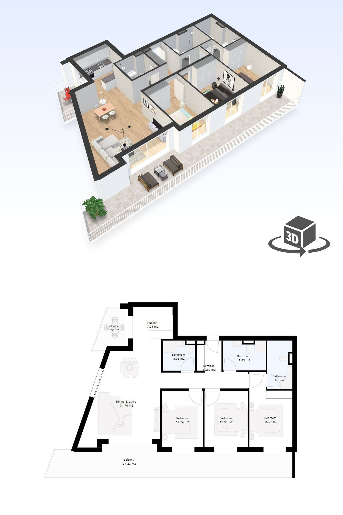 3 Bedroom Apartment Interactive 3d Floor Plan Model Floor Plans Bedroom Floor Plans Bedroom Flooring