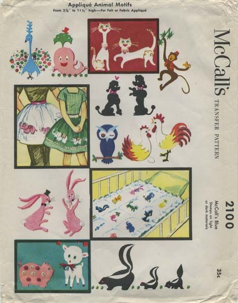 Vintage Sewing Pattern for Applique Animal Motifs | McCall's 2100 | Year 1956 | Various Sizes of Peacock, Whale, Cat, Monkey, Elephant, Poodle Dog, Owl, Hen, Rooster, Bunny, Pig, Lamb and Skunk