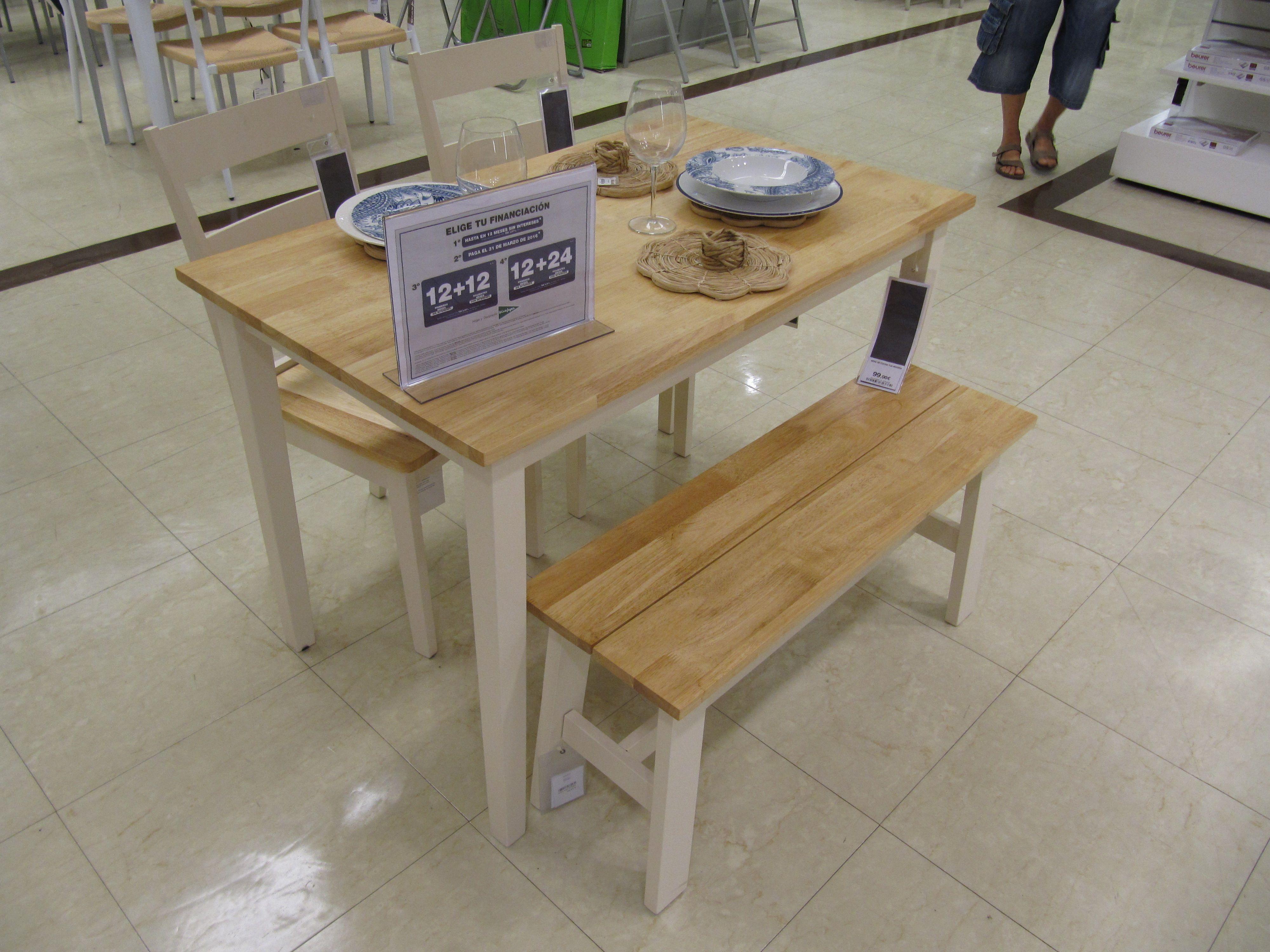 El corte ingl s mesa de madera 99 sillas 45 banqueta for Sillas salon el corte ingles