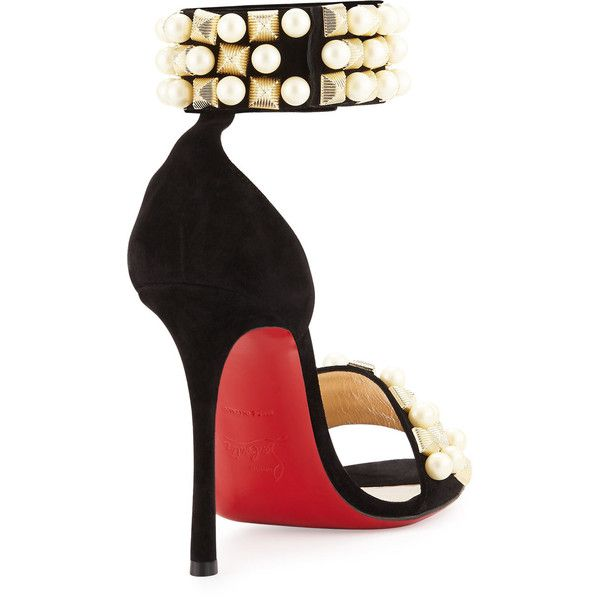 Christian Louboutin Tudor Studded Red Sole d'Orsay Sandal ($1,270) via Polyvore featuring shoes, sandals, red sole shoes, metallic sandals, black high heel sandals, black studded sandals and red high heel sandals