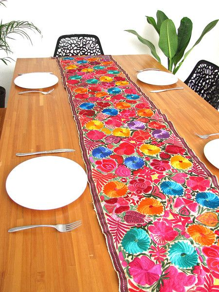 Embroidered Flowered Table Runner | 8 Feet | Yellow   Mexican Folk Art Home  Decor |