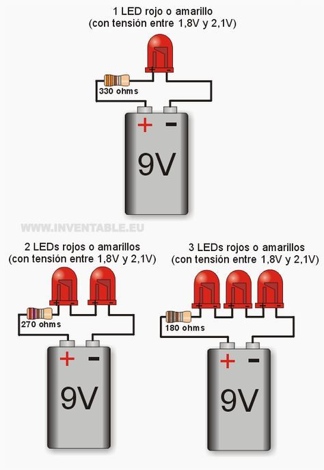 Led Wiring Diagram 9v Western 1000 Salt Spreader Leds A Por Ejemplos 電子 Pinterest Electronics Projects