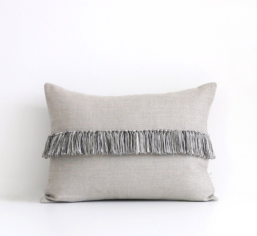 12x16 Fringe Pillow - Black, Cream and Natural Linen ...