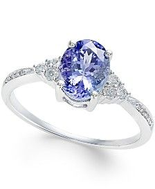 Tanzanite (1-1/4 ct. t.w.) and Diamond (1/8 ct. t.w.) Oval Ring in 14k White Gold