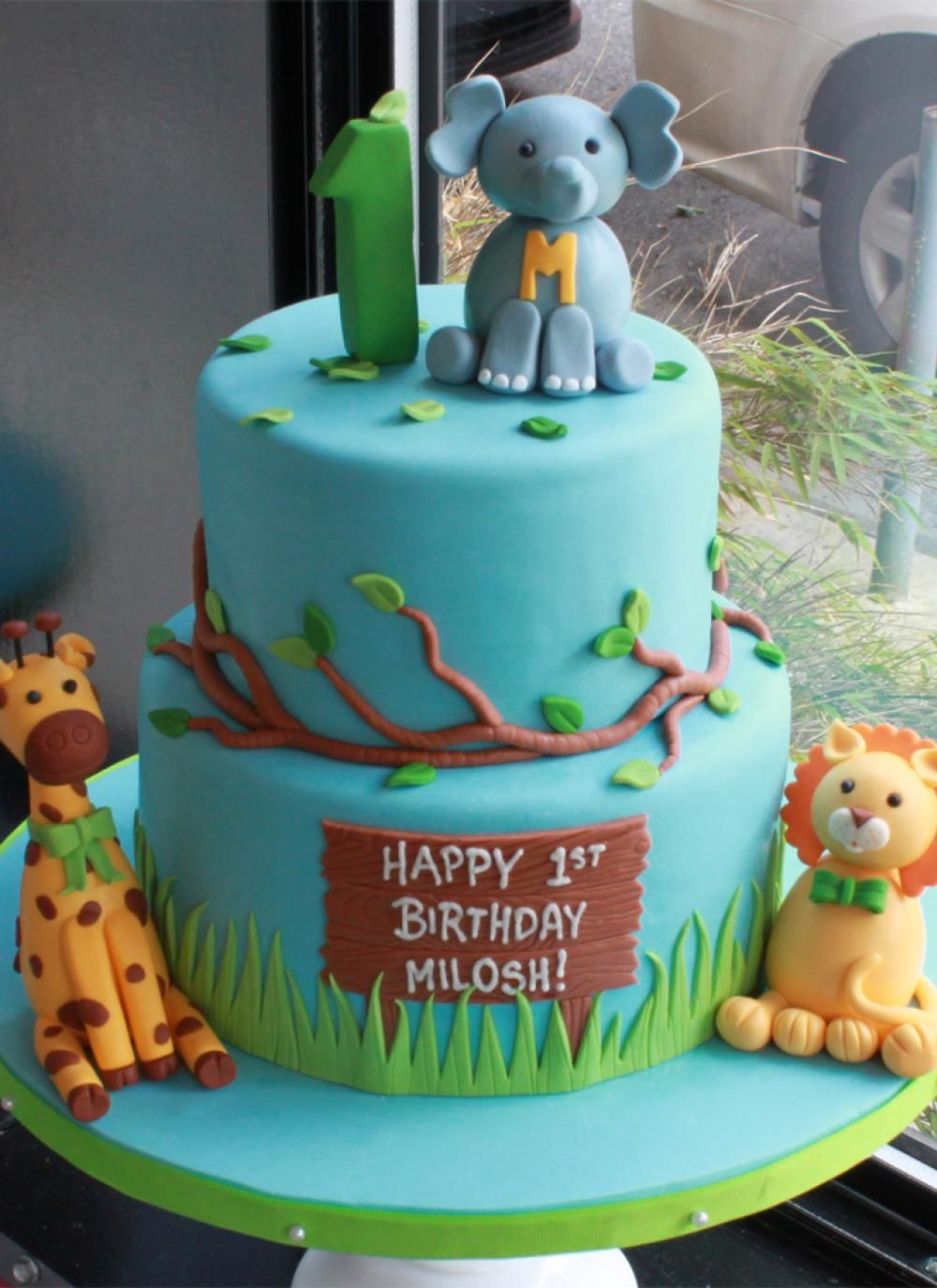 Whipped Bakeshop Philadelphia Safari Animals Birthday Cake 1st