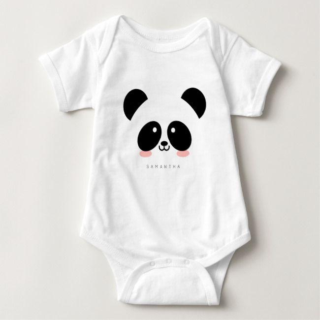 Cute Kawaii Panda Add Your Name Baby Bodysuit Zazzle