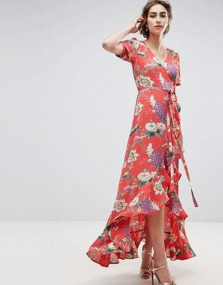 659d67f087e ASOS Maxi Tea Dress with Ruffle Detail in Floral Print  prom