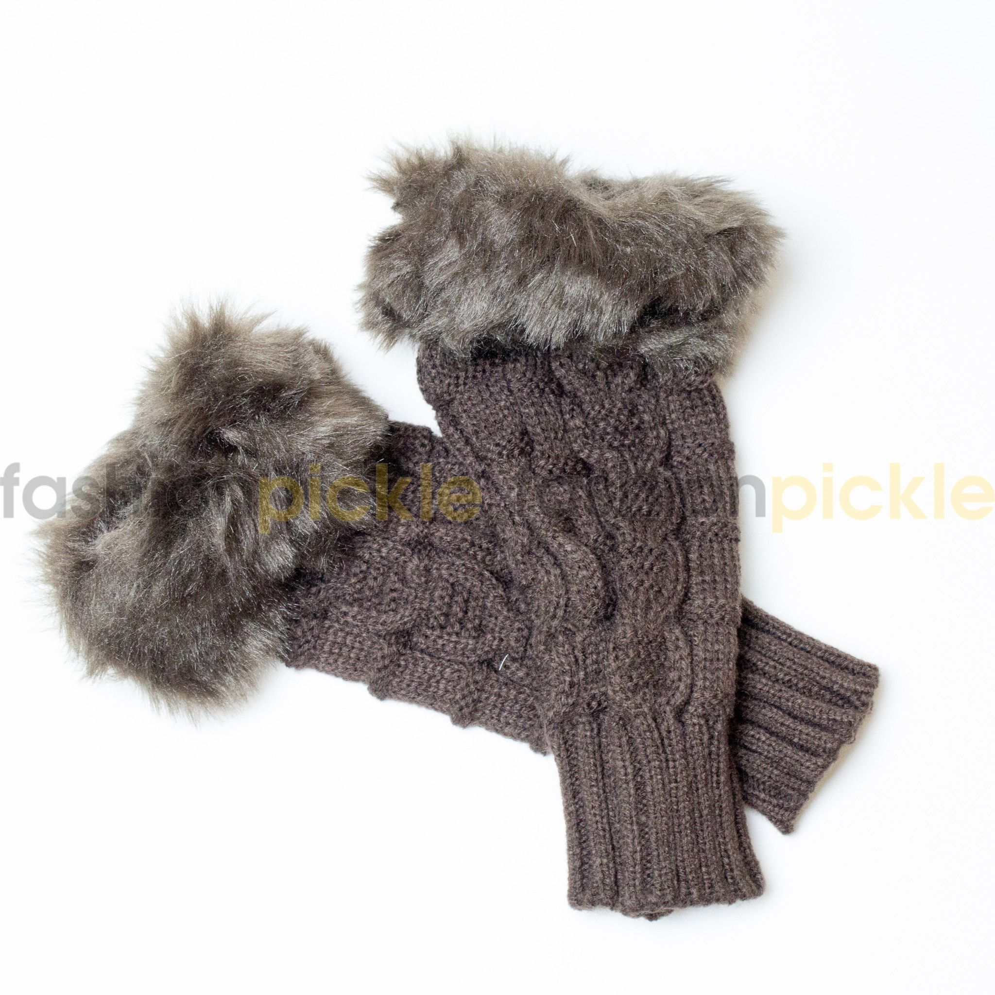 Woolen Handwarmer/Fingerless Gloves - Brown