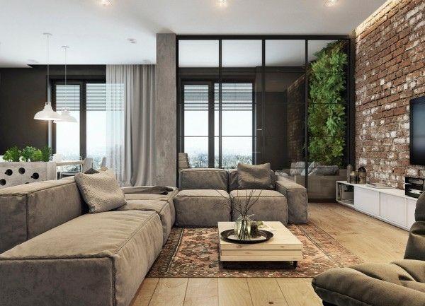 la brique d corative pour l 39 int rieur quelques exemples pinterest la brique briques et salon. Black Bedroom Furniture Sets. Home Design Ideas