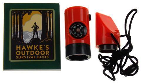 Lot 2 Hawke's Outdoor Survival Kit Mega Mini Kit Compass Whistle Lanyard Mirror - FUNsational Finds - 1