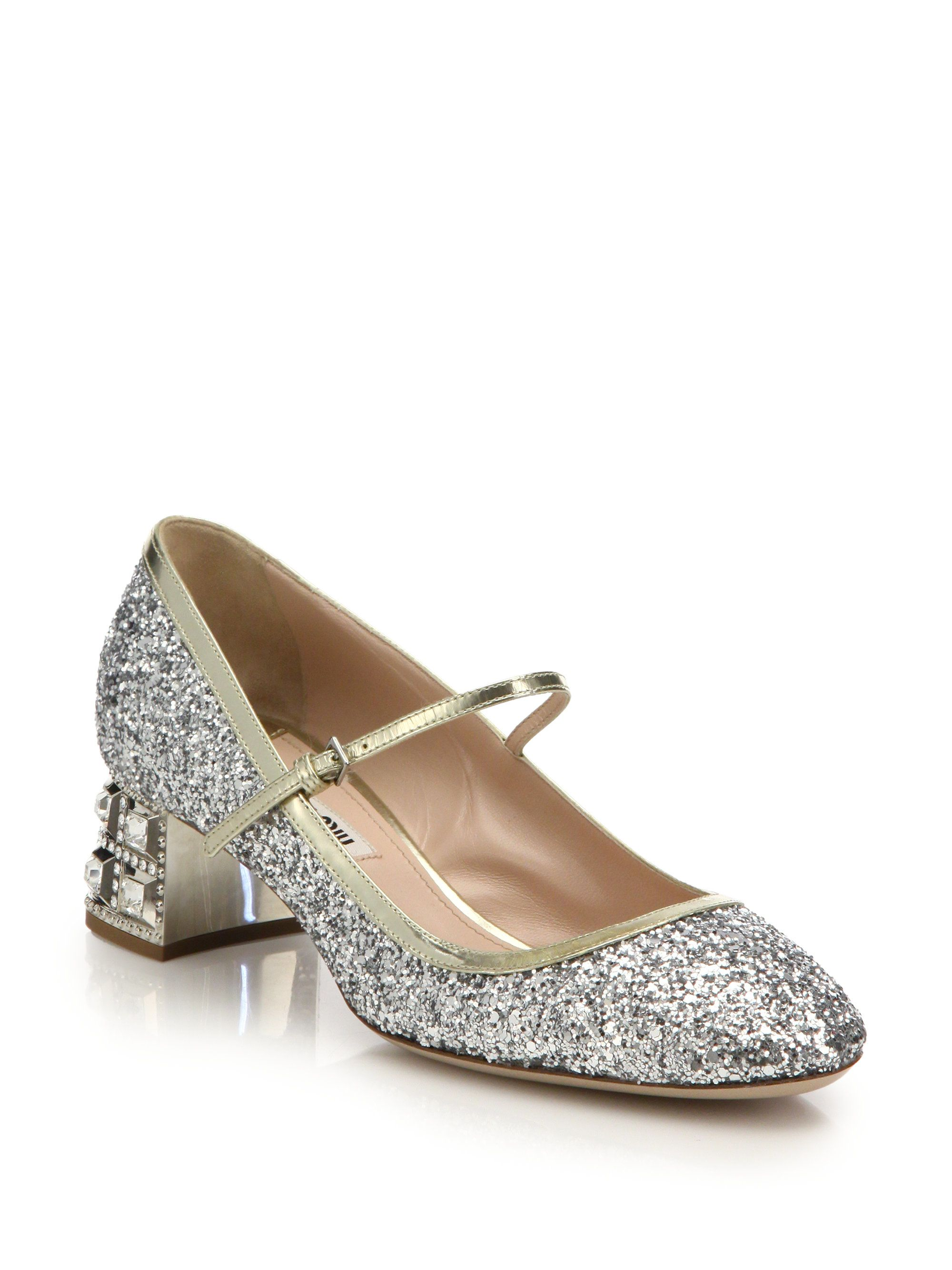 29872918e9bf4 Miu Miu | Multicolor Glitter Mary Jane Pumps | Lyst | Gifts: The ...
