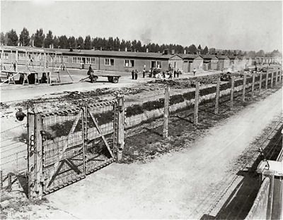 A section of the Dachau concentration camp, May-Jun 1945.