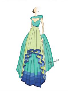 Effie Kahit Design Sketch My Interest In Designing Gowns Saree Gowns Fashion Design Sketches Croquis Fashion Indian Fashion Illustration