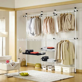 Metal Clothes Rack Steel Pipe Rack Storage Closet Wardrobe Stainless Pipe  Rack