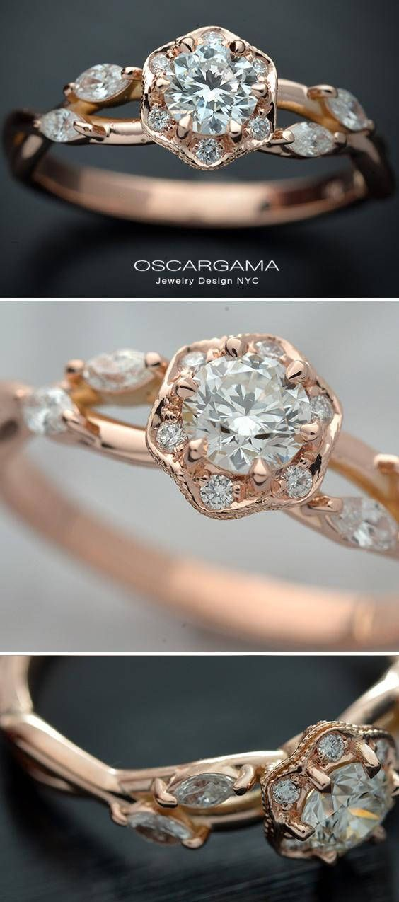 14kt Pink gold round brilliant .30ct or .50ct G-H SI2 GIA or Better. with a halo. Ring consist on a Octagon Halo with six diamonds. Each round brilliant diamond is1.15mm. On the shank is adorned with four small diamonds marquise cut 3 x 1.50 All the diamonds are G-VS- SI with a total
