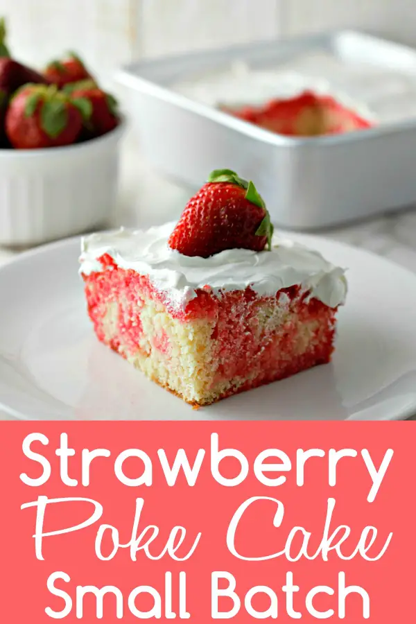 In this gorgeous and easy Homemade Strawberry Poke Cake, moist vanilla cake, sweet strawberry gelatin, and creamy cool whip come together to create a classic small batch dessert topped with fresh strawberries. Make this yummy chilled dessert for an impressive romantic date night dinner or small spring or summer get-together with a couple friends. this gorgeous and easy Homemade Strawberry Poke Cake, moist vanilla cake, sweet strawberry gelatin, and creamy cool whip come together to create a classic small batch dessert topped with fresh strawberries. Make this yummy chilled dessert for an impressive romantic date night dinner or small spring or s...