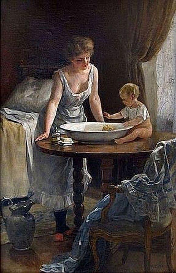 """Frédéric Dufaux (1852 – 1943, Swiss) """"Moment d'intimité autour de la bassine"""" ★"""