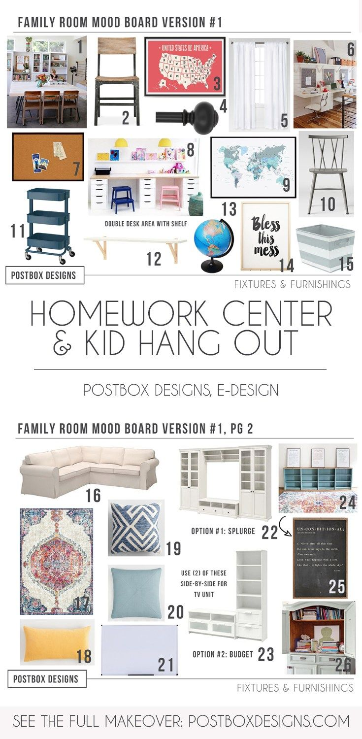 Postbox Designs, E-Design: 5 Ways to Create a Kid Homework Center, Home Office, Kid Hang Out Space...All in One Room! Plus see this Homeschool Room Makeover + Home Space via Online Interior Design