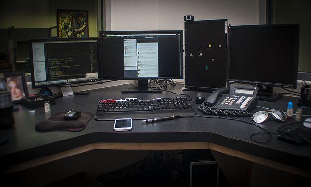 Developer Workstation Desk Computer Desk Setup Computer Desk