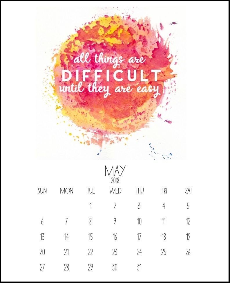 May 2018 Inspiring Calendar (With images) Calendar
