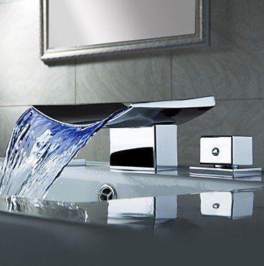 Farbwechsel LED Wasserfall verbreitet Waschbecken Wasserhahn - moderne wasserhahn design ideen