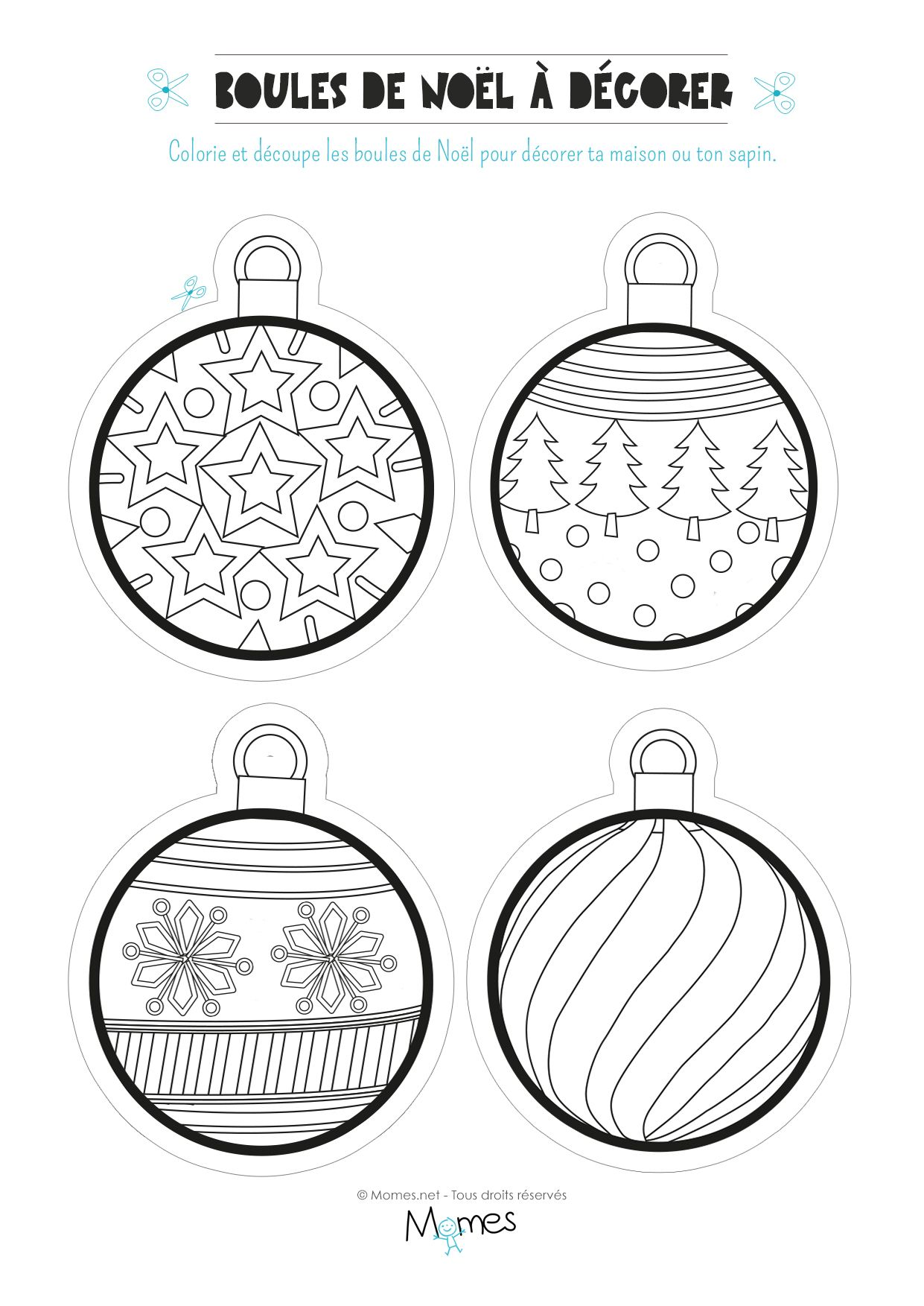 Préférence Coloriage de boules de Noël | Noel, Craft activities and Craft IO71
