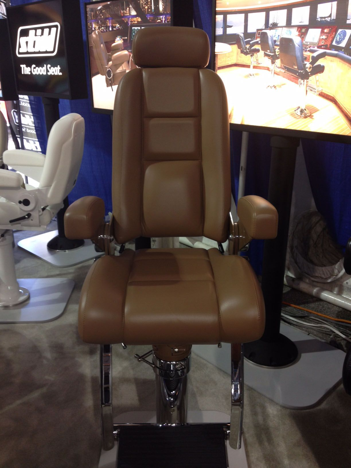 Boat captains chairs - Stidd Marine At The Ft Lauderdale Boat Show Highlighting Ultreleather Pecan On Their Helm Chair