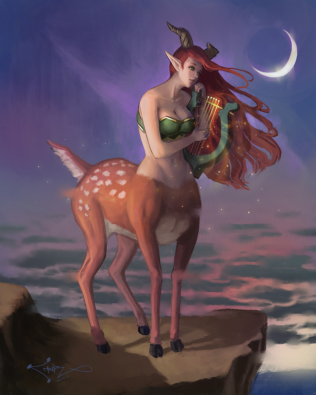 [OC] Cervitaur playing her Lyre, commission : characterdrawing