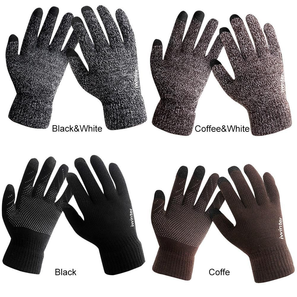 Winter Warm Fleece Lined Thermal Knitted Gloves Touchscreen Non-slip Gloves.