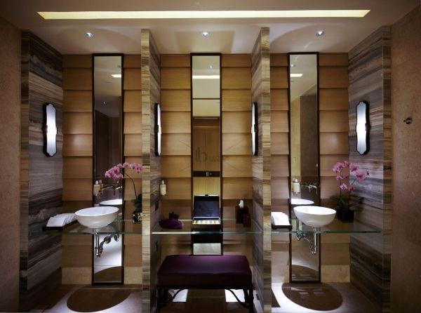 Wooden Zen Spa Like Bathroom So Many Panels And Mirrors