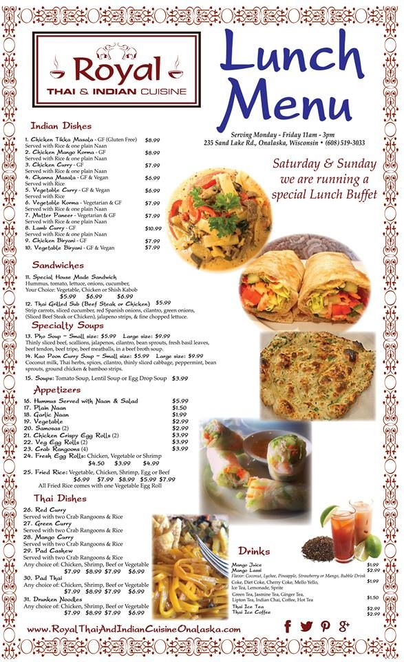 Royalthaiindian Cuisine S New Lunch Menu Poster Additional To Go