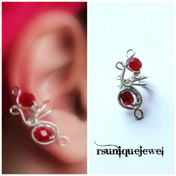 Wire Wrapped Red Beads Ear Cuff Cartilage Earring by rsuniquejewel, $10.00