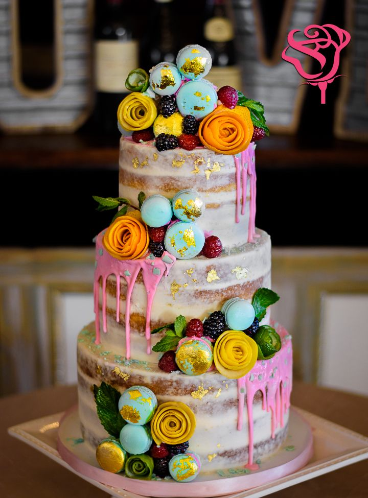 Semi Naked Drip Wedding Cake With French Macarons And Fruit Flowers