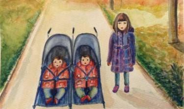 "Saatchi Art Artist Mar Ruiz Bilbao Art; Painting, ""Love my twin sisters"" #art"