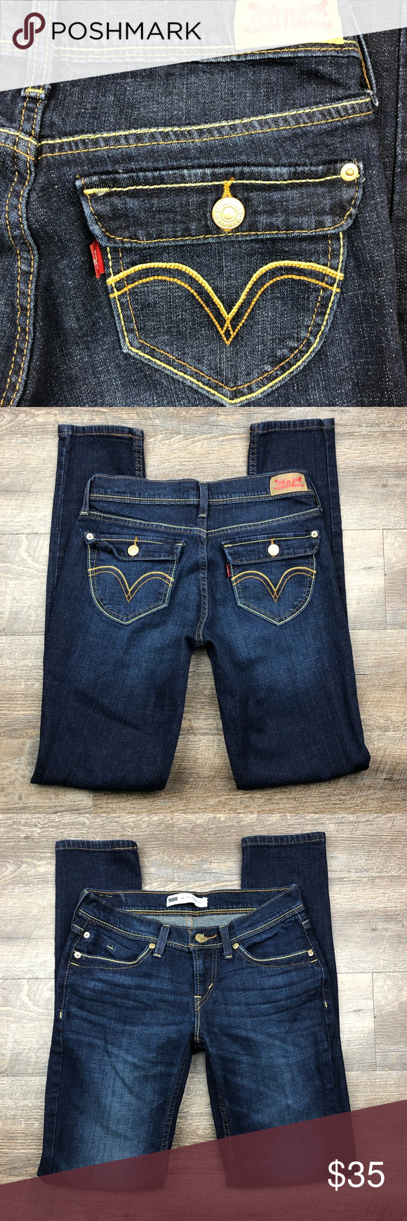 Levi s 524 Too Superlow Skinny Jeans Size 5M 27x31 Levi s Womens 524 Too  Superlow Skinny Dark Denim Stretch Jeans Size 5M 27x31 Tagged Size  5M  Measured ... 763c8e20dd