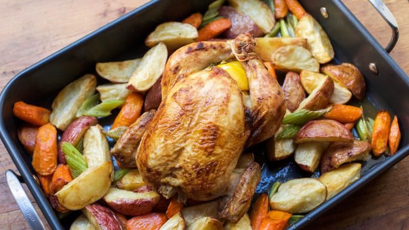 Josh Capon's Roasted Garlic, Lemon and Thyme Chicken with Root Vegetables -  Josh Capon's Roast
