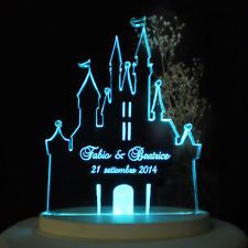 Personalized Wedding Cake Topper Fairytale Castle Opt Led Light Base