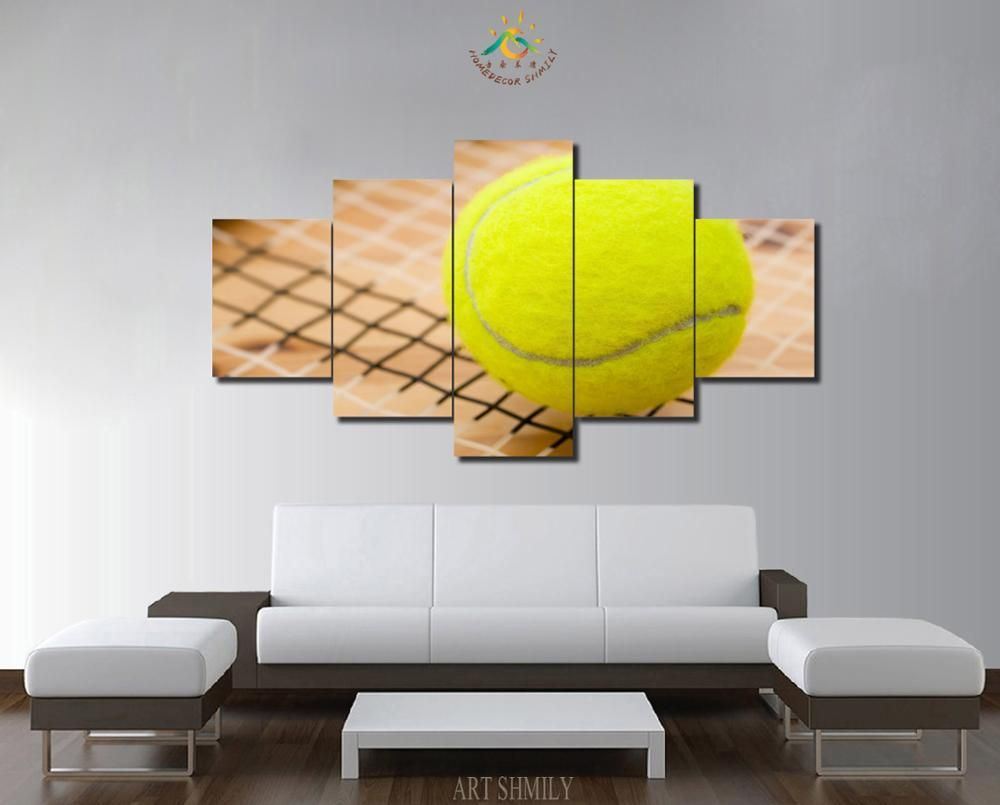 3-4-5 Pieces Yellow Ball Modern Wall Art Pictures HD Printed Canvas ...