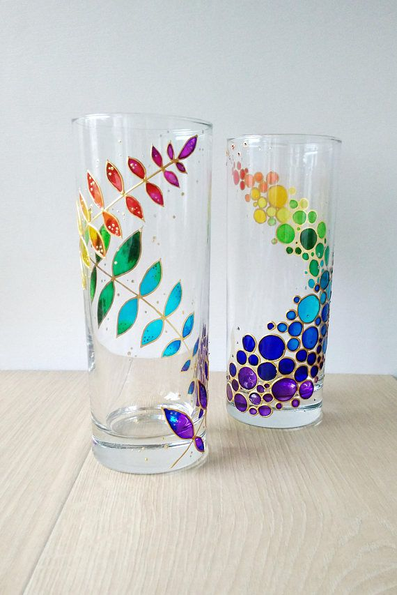 Rainbow Drinking Glasses Painted Glass Drinkware Couple Tumblers Set Of 2 12 1 4 Oz Water Glasses Cust Glass Painting Designs Painting Glassware Glass Painting