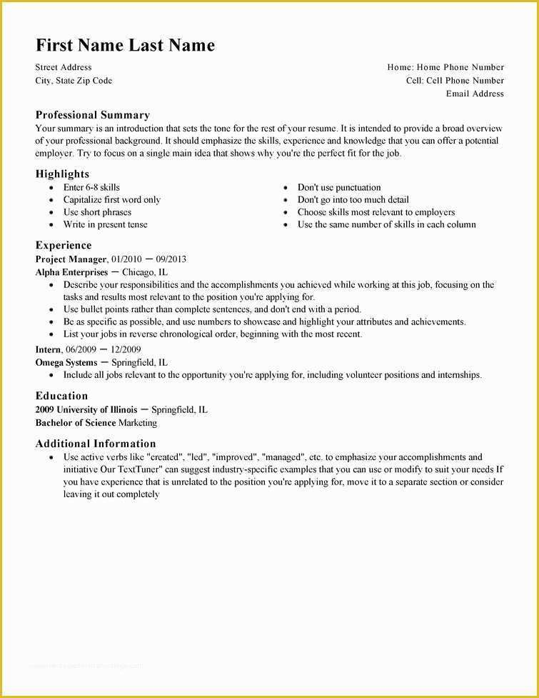 Best Free Resume Templates Of Professional Resume Template