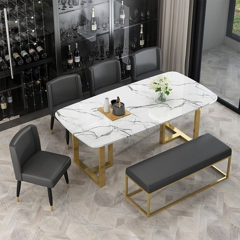 Modern Elegant Dining Table With Faux Marble Top Metal Legs Single Piece Rectangular Kitchen T Dining Table Marble Marble Top Dining Table Dining Table Decor