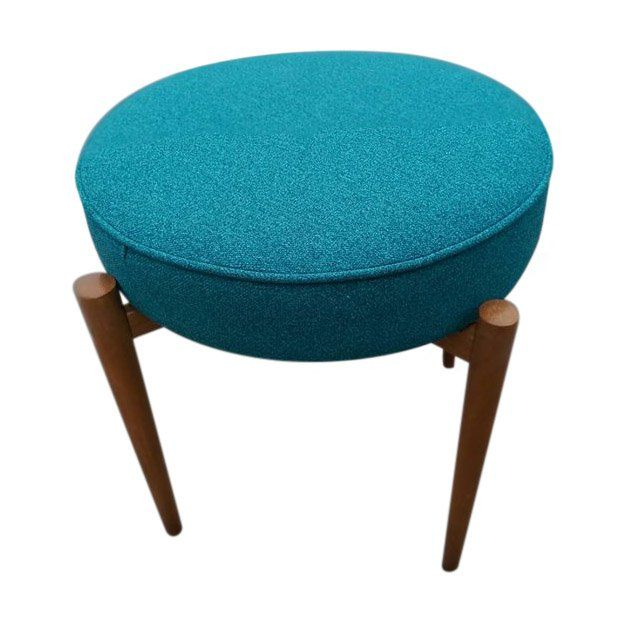 A+striking+teal+blue+mid+century+stool+with+beautiful+tapered+wooden+legs.