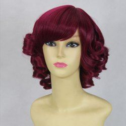 $14.91 Stylish Inclined Bang Short Curly Cosplay Wig For Women