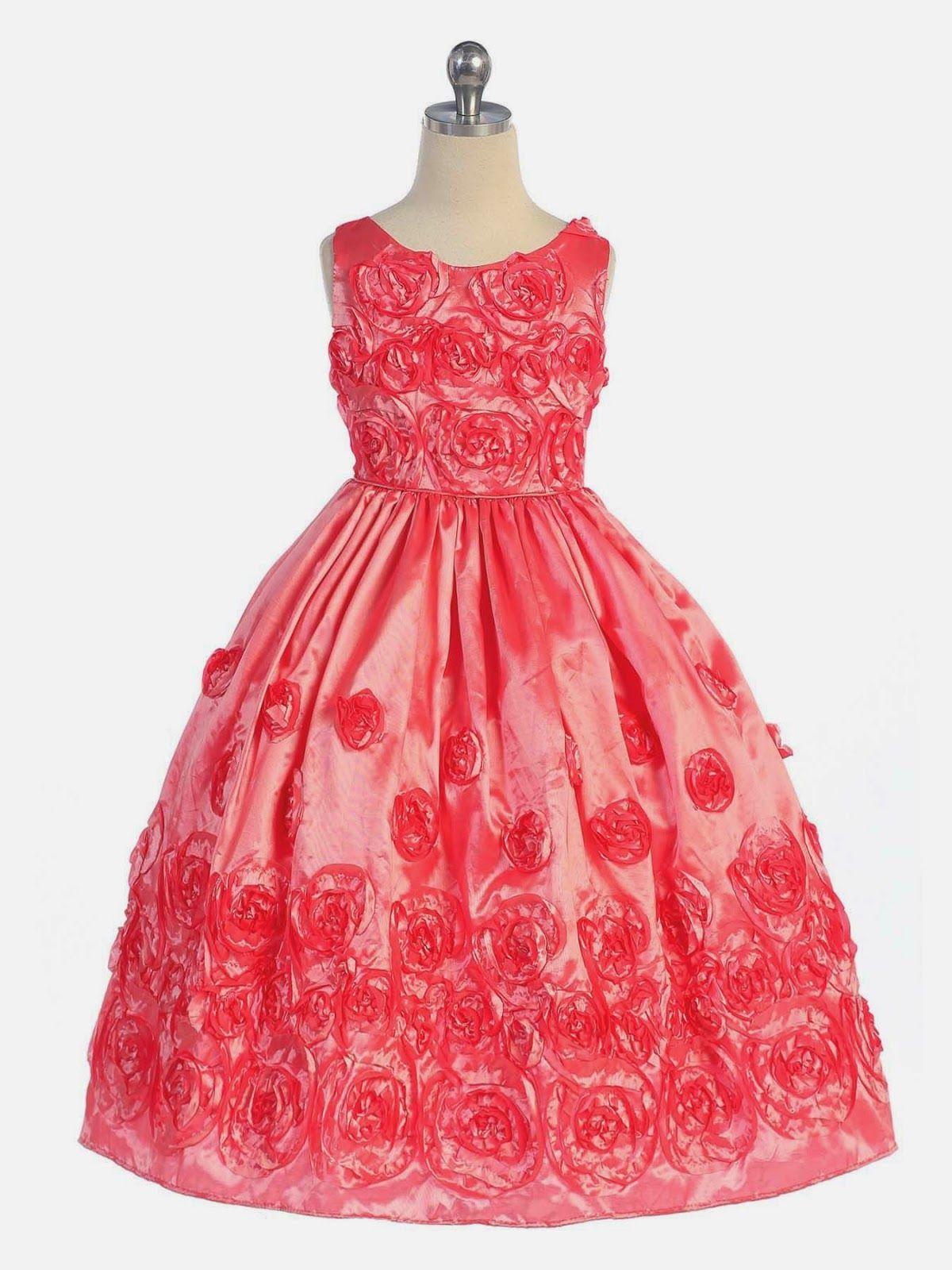Vestidos Niña de las Flores, Color Coral | niñas fiesta | Pinterest ...