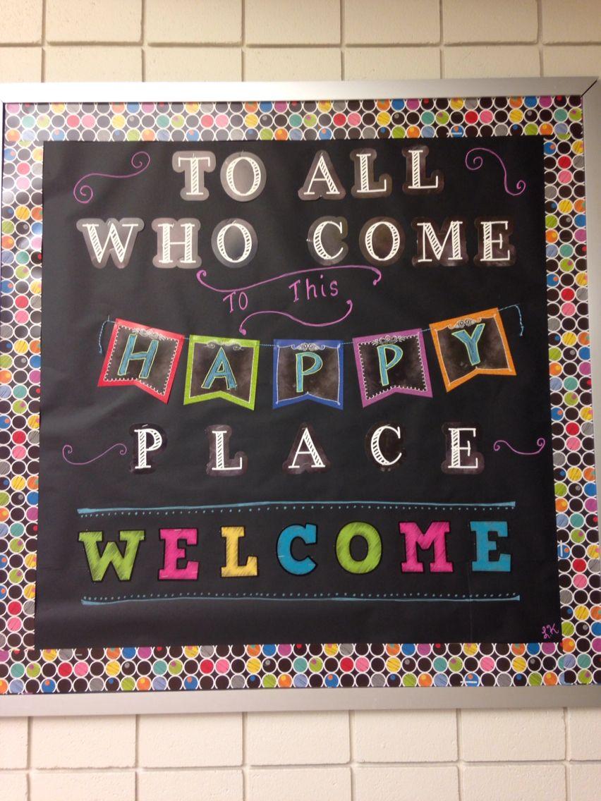 Classroom Welcome Decor : Welcome back to school bulletin board chalkboard
