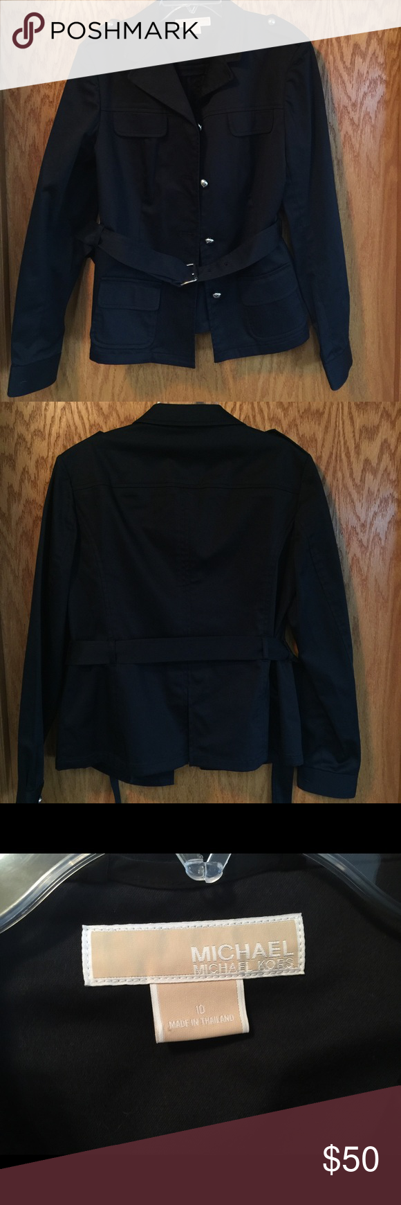 Michael Kors Navy lightweight jacket w belt. Sz 10 Michael Kors lightweight jacket with belt. Color is navy and has silver buttons. In excellent condition. Size 10. Michael Kors Jackets & Coats